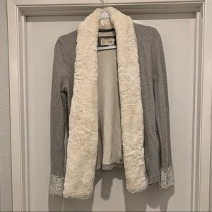 Anthropologie jacket with fur collar size M